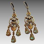 German Saphiret Glass Victorian Style Girandole  Leverback Artisan Earrings