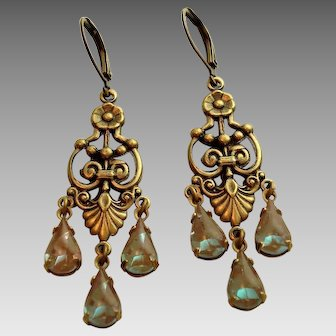 German Saphiret Glass Victorian Style Girandole  Leverback Artisan Earrings