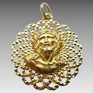 Vintage Ornate Open Work 14k Gold Two-Sided Blessed Mother Christ Religious Medal