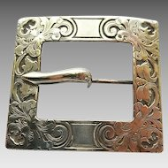 Antique Silvertone Fancy Mythical Creature Engraved Victorian Sash Buckle Brooch