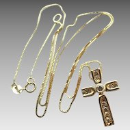 "Vintage 14k Gold Diamond Cross Pendant Necklace On 18"" Box Chain"