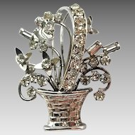 Vintage Sterling Silver Rhinestone Carl Art Flower Basket Pin Brooch