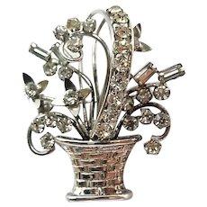 Vintage Sterling Silver Rhinestone Carl Art Flower Basket Pin Brooch