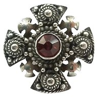 Vintage Sterling Silver Red Stone Jerusalem Crusaders Cross Pin Pendant