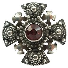 Vintage Sterling Silver Red Stone Jerusalem Crusaders Cross Pin Pendant
