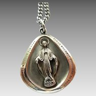 Vintage Sterling Silver Theda Miraculous Catholic Medal On Stainless Steel Chain