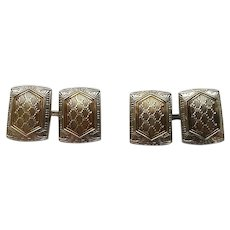 Vintage Art Deco Era 10k Two-Toned Gold Two-Sided Cufflinks