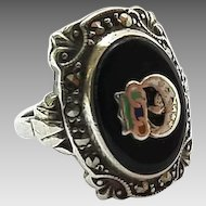 Vintage Uncas Sterling Silver Marcasite Daughters Of Rebekah Odd Fellows Ring Size 6 3/4
