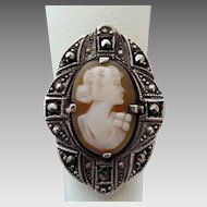Vintage Art Deco Era Sterling Silver Marcasite Cameo Ring Size 5 1/2