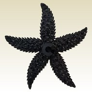 Vintage Weiss Jappaned Metal Jet Black Rhinestone Starfish Figural Pin