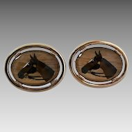 Vintage Reverse Carved Painted Glass Horse Equestrian Cufflinks