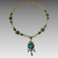 Vintage Circa 1940's Gold Filled Green Art Glass Cabochon Fancy Link Necklace