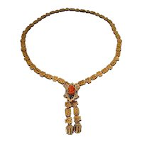 Antique Victorian Ornate Bookchain Coral Cameo Black Enamel Necklace