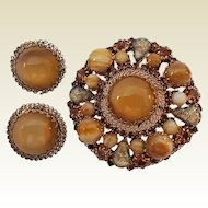 Vintage Signed Austria Art Glass Rhinestone Brooch Pin Clip Earrings Set