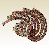 Vintage Kramer Pink & Rainbow Aurora Borealis Rhinestone Swirl Pin Brooch
