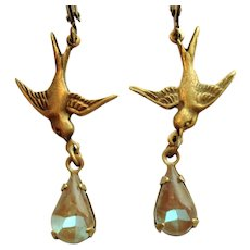 Vintage German Saphiret Glass Bird Figural Dangle Leverback Artisan Earrings