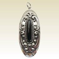 Vintage Victorian Style Sterling Silver Onyx Repousse Scrolls Oval Locket