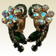 Vintage Green Rhinestone Aurora Borealis Big Clip Earrings