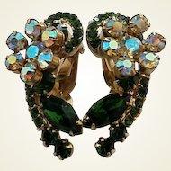 Vintage Green Rhinestone Aurora Borealis Big Clip Earrings