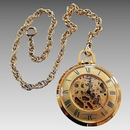 Vintage Bulova Caravelle Skeleton Pocket Watch With Chain
