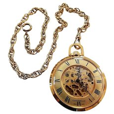 Vintage Bulova Caravelle Skeleton Pocket Watch With Chain
