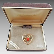 Vintage Krementz Gold Filled Genuine Coral Heart Pin Brooch in Original Box