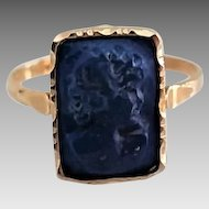 Vintage 14 Karat Blue Lapis Carved Cameo Ladies Ring Size 10