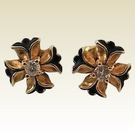 Vintage 14 Karat Gold Enamel Diamond Maltese Cross Flower Pierced Earrings