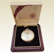 Vintage Gruen Conoruma Veri- Thin Precision Gold Filled Pocket Watch in Original Case