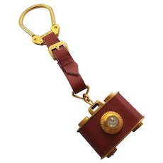 Vintage Brass Leather-Wrapped Camera Fob Key Chain Made in Italy