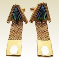 Vintage Goldtone Art Glass Mesh Wrap Cufflinks