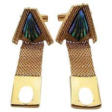Vintage Goldtone Art Glass Mesh Wrap Cufflinks