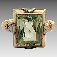 Vintage Two-Toned 10k Gold Peridot Ladies Ring Size 6
