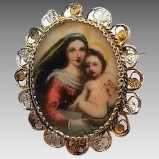 Vintage 800 Silver Filigree Madonna and Child Hand-Painted Pin Brooch