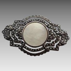 Vintage Art Deco Sterling Silver Marcasite Mother of Pearl Pin Brooch
