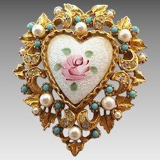 Vintage Signed ART Rhinestone Faux Pearl Guilloche Enamel Rose Heart Pin Brooch