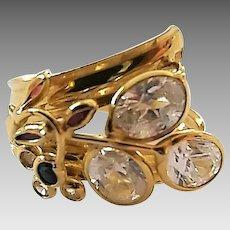 Vintage 18 Karat Yellow Gold CZ Floral Ladies Ring Size 9