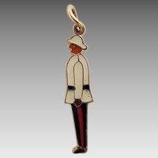Vintage Tiny 10k Gold Enamel Royal Canadian Bermuda Regiment Pendant Charm