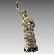 Vintage Pot Metal Paste Enamel New York Statue of Liberty Figural Pin Brooch