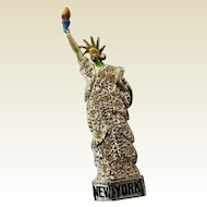 Vintage Pot Metal Paste Enamel New York Statue of Liberty Figural Pin Brooch