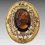 Vintage Florenza Ornate Glass Cameo Pin Brooch