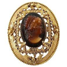 Vintage Florenza Ornate Glass Cameo Pin Brooch