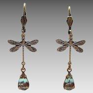 Antiqued Brass German Vintage Saphiret Glass Dragonfly Figural Leverback Earrings
