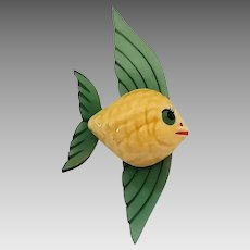 Vintage Elzac Ceramic Carved Lucite Angel Fish Pin Brooch