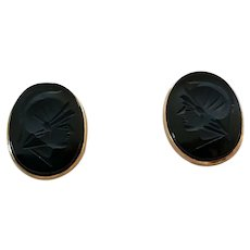 Vintage 14K Gold Carved Black Onyx Ancient Soldier With Helmet Intaglio Cufflinks