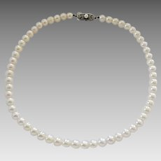 Vintage Mikimoto 6mm Cultured Pearl Silver Clasp Necklace