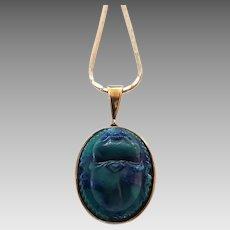 Vintage 8 Karat Gold Egyptian Revival Art Glass Scarab Pendant on Chain