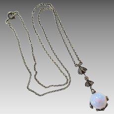 Vintage Sterling Silver Paste Rhinestone Gumdrop Opalescent Glass Pendant Necklace