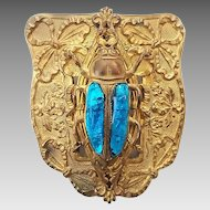 Antique Victorian Big Gilt Brass Foil Poured Art Glass Beetle Bug Insect Sash Pin Brooch