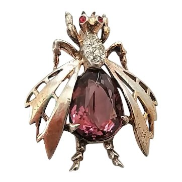 Vintage Reja Sterling Silver Rhinestone Bee Fly Insect Bug Brooch Pin